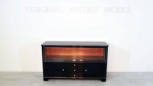 Art Deco Sideboard, Vitrine, 1930, Klavierlack, Glas-Schiebetueren