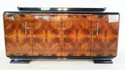 Art Deco Sideboard, WUrzelholz Furnier, Frankreich, CHromgriffe, Klavierlack
