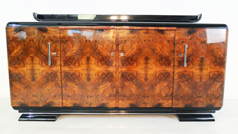 art deco wurzelholz sideboard mit einzigartigem furnier original antike m bel. Black Bedroom Furniture Sets. Home Design Ideas