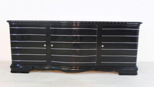Art Deco Sideboard, hochglanzschwarzer Klavierlack, feine Chromlinien, französicher Fuß, Originalmoebel aus den 1920ern