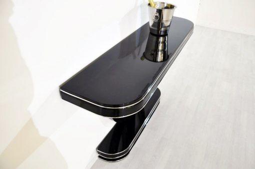 Art Deco Konsole, hochglanzschwarzer Klavierlack, feine Chromlinien, tolles Design