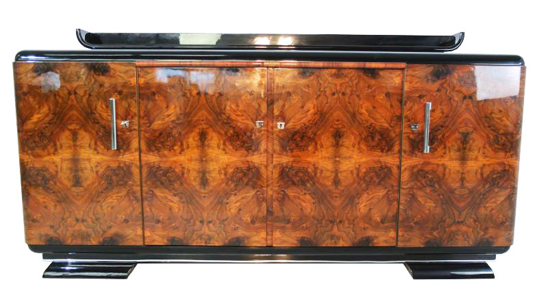 art deco walnut sideboard mit unique veneer ebay. Black Bedroom Furniture Sets. Home Design Ideas