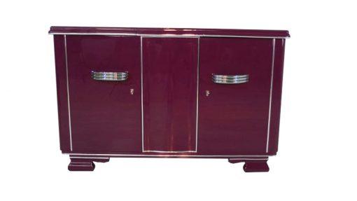 Art Deco Sideboard, außergewoenliche Farbe, Metallic-Violett, große Chromgriffe
