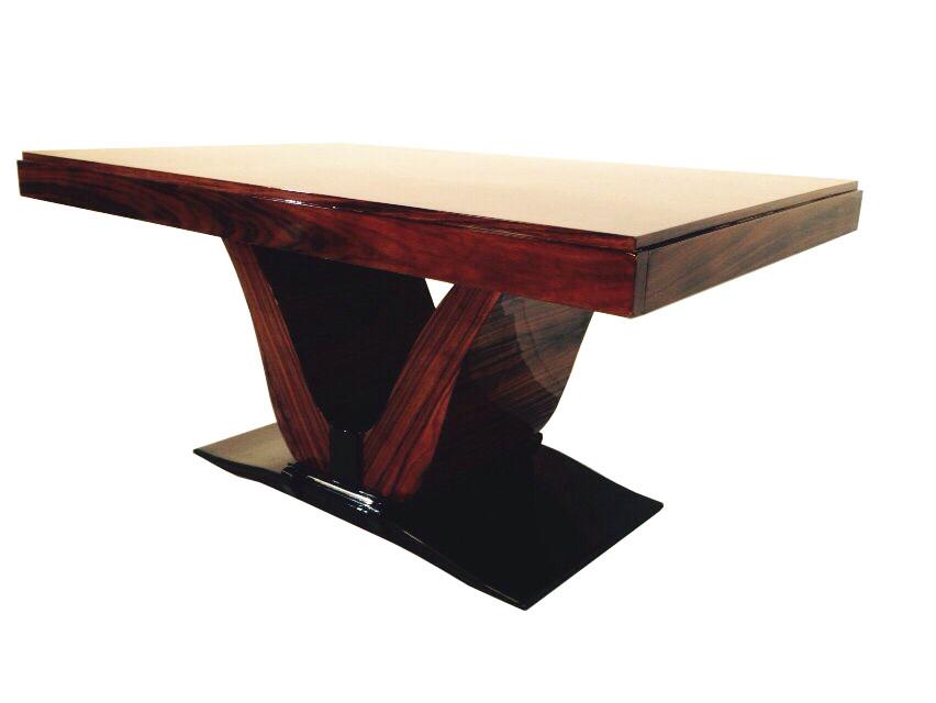 Art Deco Esstisch, wundervolels palisanderholz, einzigartiges Furnierbild, einzigartiges Fußgestell, Hochglanzlackierung