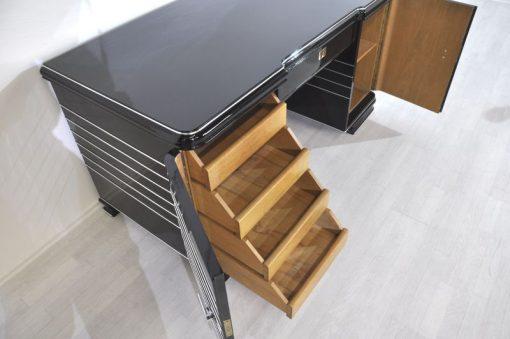 Art Deco Schreibtisch, typische Art Deco Formensprache,feine Chromlinien und massive Chromgriffe, frei im Raum stellbar, Lacobellglasplatte