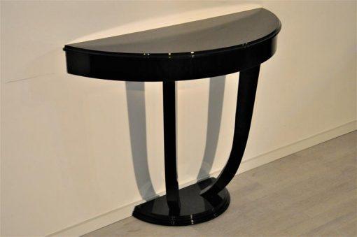 Art Deco, Stil, Konsole, Tisch, Moebel, Klavierlack, handpoliert, handgefertigt, Wohnzimmer, geschwungenes Design, edel, Ambiente