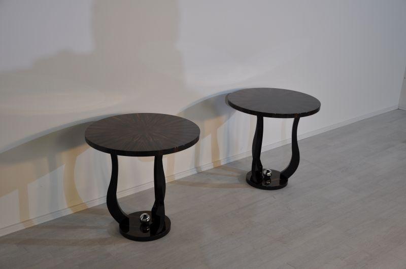 Art Deco Beistelltisch, Makassarholz, geschwungene Beine, Chromkugel, einzigartiges Design