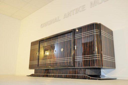 Art Deco, Sideboard, Buffet, Makassar, Groß, Design, Hochglanz, Finish, restauriert, Chrom, Linien, Details, Moebel, Schrank, rotes Innenleben