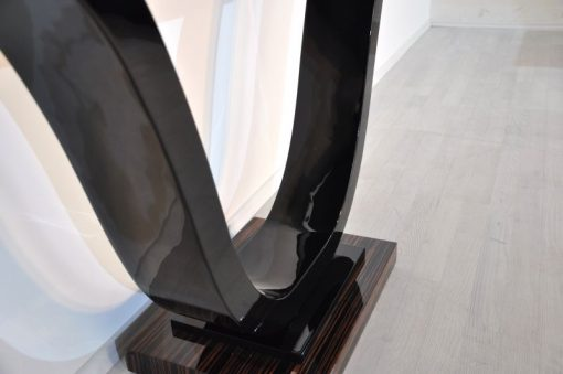 Art Deco Konsole, Markassarholz, tolle Formensprache, Hochglanzoberfläche