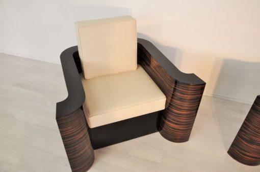 Art Deco Sessel, Makassarholz, hochwertiges leder, hochglanzlack, beste Qualität