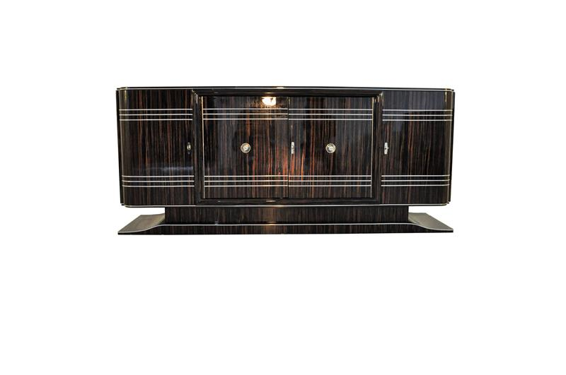 gro es art deco sideboard aus makassar ebay. Black Bedroom Furniture Sets. Home Design Ideas