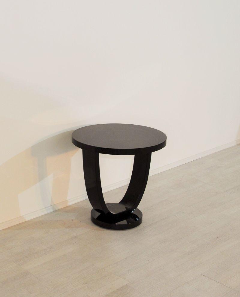 hochglanzschwarzer art deco beistelltisch ebay. Black Bedroom Furniture Sets. Home Design Ideas