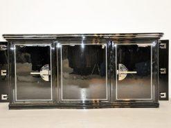 seltenes Art Deco Sideboard abwechslungsreiche Lackierung - Hochglanzschwarzer Klavierlack große Chromgriffe edeles und unverwechselbares Design