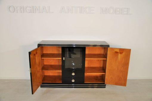 Art Deco Sideboard hochwertiger Klavierlack Hochglanzoberfläche gradliniges Design feine Chromelemente große Vitrinenfach