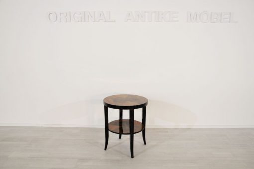 Art Deco Beistelltisch, Art Deco Tisch, Tischplatte aus Nussbaumholz, Beine mit mehrschichtigem Klavierlack, kompakte Maße - Durchmesser 56cm