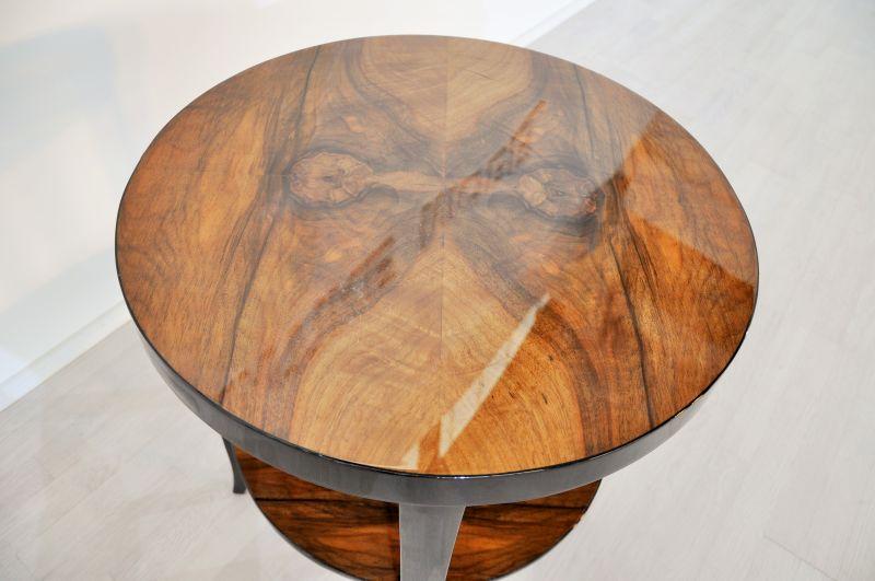 art deco beistelltisch mit einzigartiger nussbaumplatte. Black Bedroom Furniture Sets. Home Design Ideas