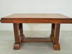 Art Deco, Nussbaum, Esstisch, Tisch, Furnier, ausziehbar, Karo-Muster, wundervolle Form, einzigartige Füße, tolle Holzoptik