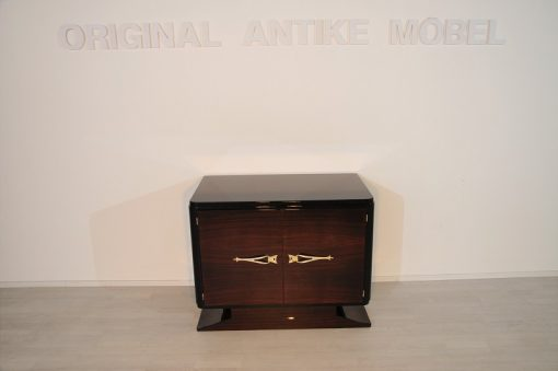 Art Deco, Kommode, Makassar, Furnier, Messing, Griffe, Klavierlack, Antik, Originalmöbel, sauberes Innenleben, Stauraum, einzigartiges Design