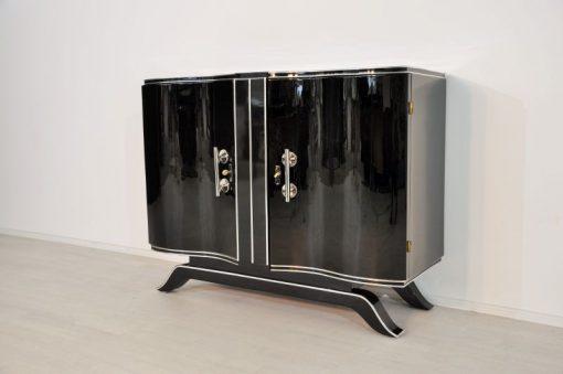 Art Deco, Konsole, Holz, schwarz, Hochglanz, Klavierlack, Antik, Chrom, original, restauriert, lackiert, geschwungene Türen