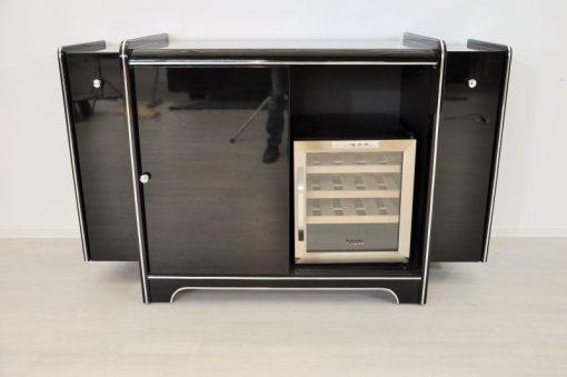 Art Deco, Weinkühlschrank, Sideboard, Bar, schwarz, Hochglanz, Klavierlack, Flaschenhalter, Auszüge, Antik, Chrom, original