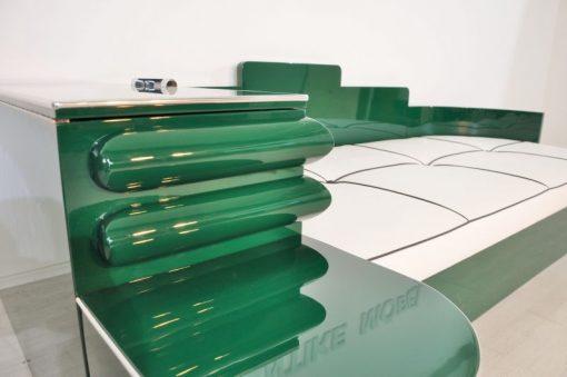Art Deco, Daybed, Sofa, Bett, Jaguar Racing Green, Chromdetails, Kommode, Antik, Kunstleder Matratze, Creme Weiß, Hellbraun