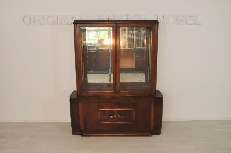 original art deco spiegel vitrine aus dunkelem walnussholz original antike m bel. Black Bedroom Furniture Sets. Home Design Ideas