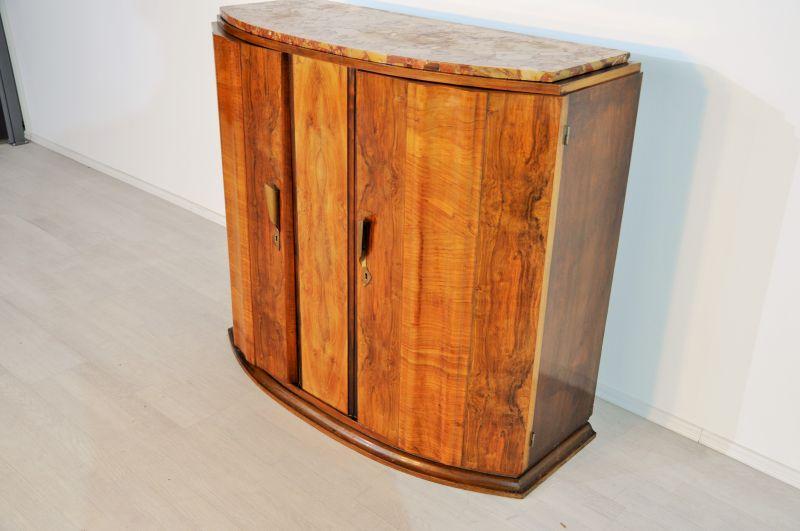 art deco nussbaumkommode mit einer bunten marmorplatte original antike m bel. Black Bedroom Furniture Sets. Home Design Ideas