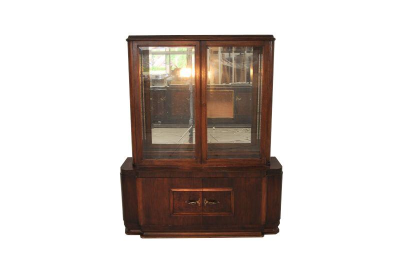 Art Deco Spiegel : Original art deco spiegel vitrine aus dunkelem walnussholz