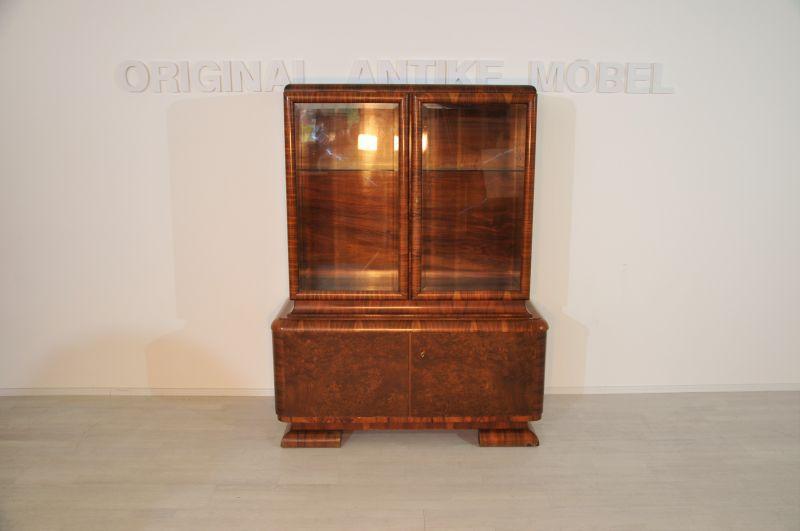 Art Deco Nussbaum-Vitrine aus Frankreich - Original Antike ...