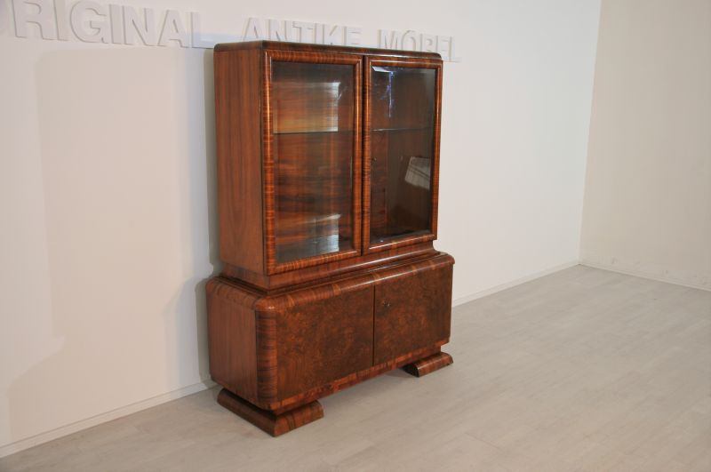 art deco nussbaum vitrine aus frankreich ebay. Black Bedroom Furniture Sets. Home Design Ideas