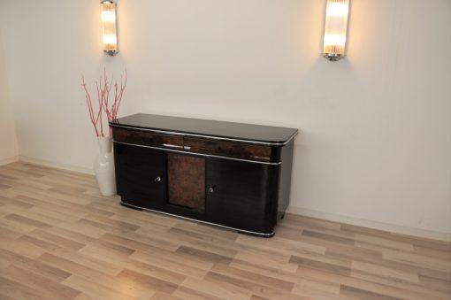 original, art deco, sideboard, buffet, wurzelholz, schubladen, details, verzierungen, front, klavierlack, wohnzimmer, antik, moebel