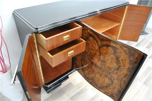 Art Deco, Moebel, Buffet, Sideboard, Wohnzimmer, Wurzelholz, Front, geschwungene Tueren, Klavierlack, poliert, einzigartig