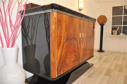 Art Deco, Kommode, Sideboard, Nussbaum, Furnier, Aufsatz, Hochglanzschwarz, Klavierlack, französicher Fuß, Klein, Einlegeboden, Wohnzimmer, Moebel