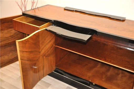Art Deco, Sideboard, Walnuss, geschwungen, geformt, tolle Form, einzigartiges Holz, Holz, Wohnzimmer, Stauraum, Hochglanz
