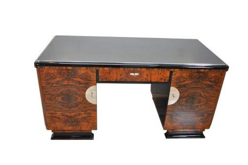 Art Deco, Schreibtisch, Beidseitig, Wurzelholz, Tueren, Hochglanzschwarz, Klavierlack, Handpoliert, Manufaktur, Bueromoebel