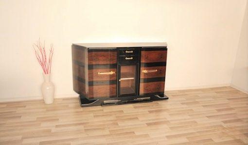 Art Deco, Sideboard, Buffet, Außergewoehnlich, koeperform, vitrine, fach, vitrinenfach, hochglanz, holzfunier, klavierlack