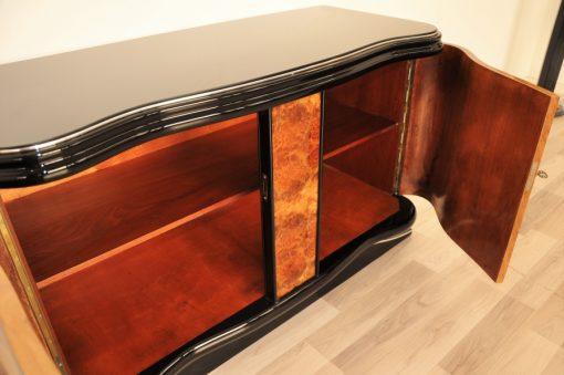 Art Deco, Vintage, Kommode, Wurzelholz, Furnier, Furnierbild, Wohnzimmer, Edel, Klavierlack, Chromleisten, Moebel, Sideboard, Original, Restauriert