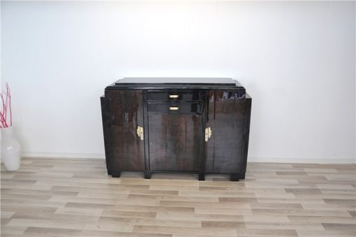 Art Deco, Moebel, Sideboard, Highboard, Mahagoni, wundervolle Form, Stauraum, Paerchen, Frankreich, Wohnzimmer, Hochglanz, restauriert