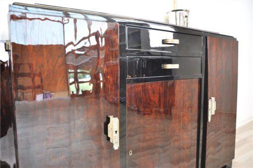 Art Deco, Moebel, Sideboard, Highboard, Mahagoni, wundervolle Form, Stauraum, Paerchen, Frankreich, Wohnzimmer, Hochglanz, restauriert
