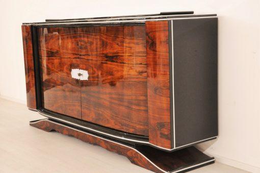 Art Deco, Walnuss, Buffet, Sideboard, Furnier, außergewoehnliche Form, Körpersprache, Franzoesisch,Vintage, Antik, Wohnzimmer, Design
