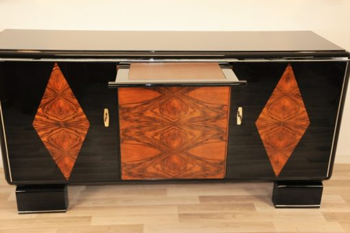 Art Deco Moebel, Sideboard, Buffet, Karo Furnier, hochglanz Schwarz, Nussbaumholz, Chromlinien, Original, Restauriert, Wohnzimmer