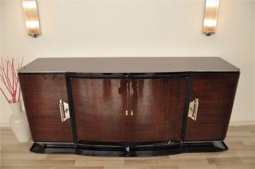 Art Deco Sideboard, groß, palisander, holz, chromgriffe, fuß, klavierlack, original, franzoesisch, hochglanz, poliert, wohnzimmer
