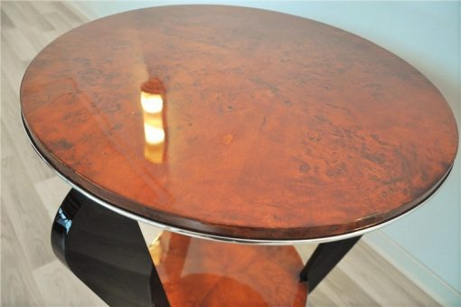 Art Deco, Beistelltisch, Tisch, Furnier, WUrzelholz, Beine, Klavierlack, Hochglanz, Wohnzimmer, elegant, design, moebel, klein