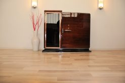 Art Deco Kommode, Bar, Sideboard, asymmetrisch, glas, einlegeboeden, palisander, klavierlack, hochglanz, tolle form, wohnzimmer