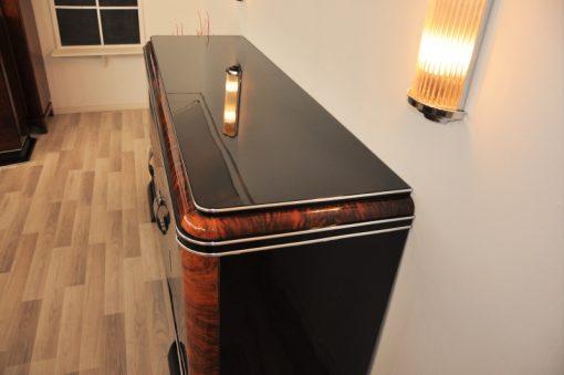 Art Deco Sideboard, Buffet, Frankreich, franzoesisch, klavierlack, mahagoni, details, wohnzimmer, 1920er, chromgriffe, fueße