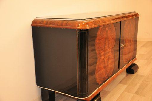 Art Deco Kommode, Sideboard, Klein, Buffet, Antik, Wurzelholt, Furnier, Klavierlack, Restauriert, Aufbewahrung, Franzoesisch, Original