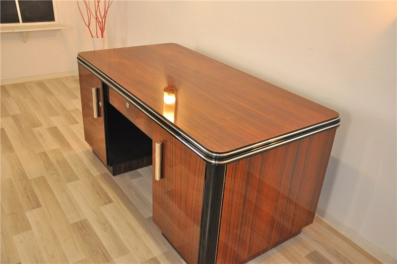 beidseitiger art deco schreibtisch aus palisanderholz. Black Bedroom Furniture Sets. Home Design Ideas