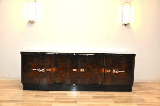 Art Deco, Lowboard, Sideboard, Buffet, geschwungene Tueren, Wurzelholz, dunkel, chromgriffe, Wohnzimmer, Schubladen, Furnier, Moebel