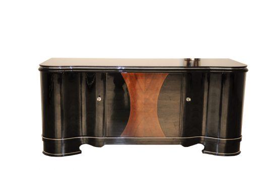 Art Deco, Lowboard, formschoen, hochglanz, sideboard, buffet, geschwungene Tueren, Design, Holzfurnier, außergewoehnlich, klavielack, moebel