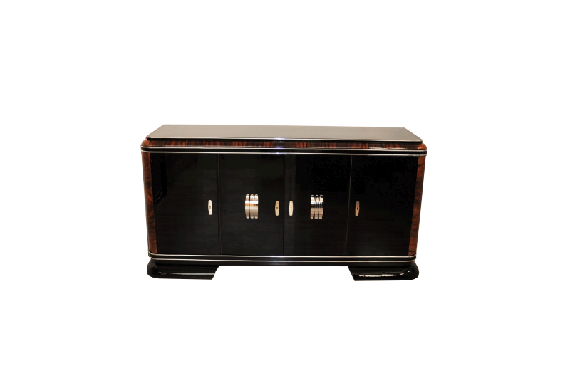 franz sisches art deco sideboard mit klavierlack und mahagoni details ebay. Black Bedroom Furniture Sets. Home Design Ideas